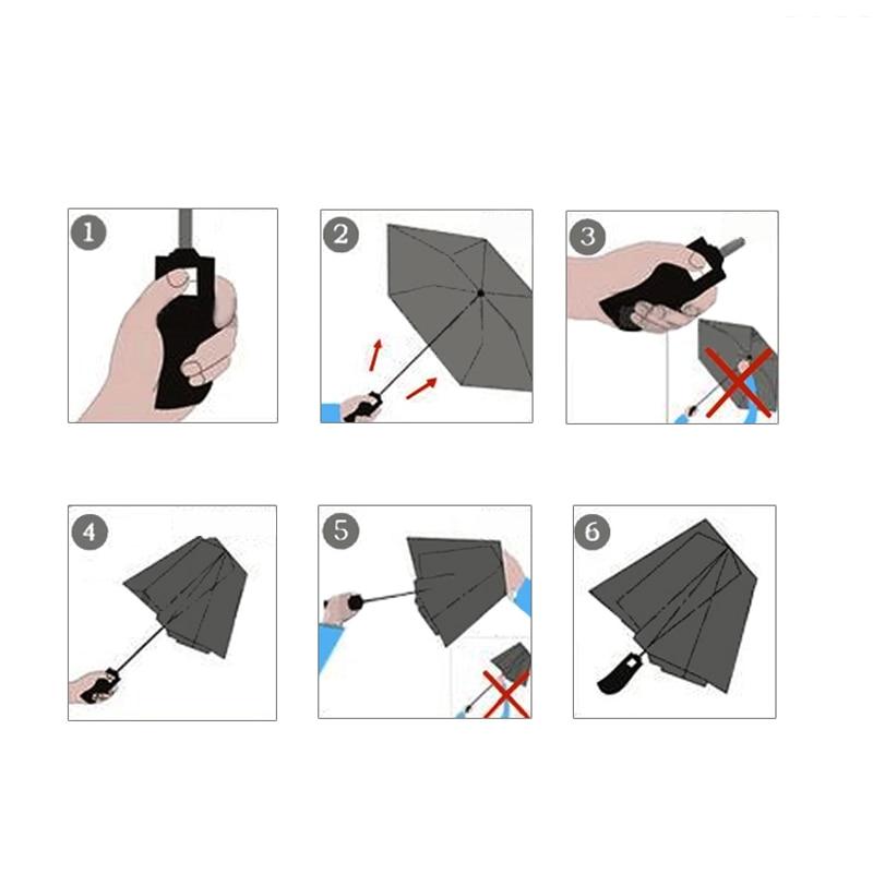 Cijeli automatski prozirni kišobran 3 sklopivi kišobran kiša žene - Kućanski robe - Foto 6