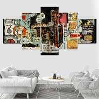 Canvas Painting Wall Art Home Decor for Living Room Prints 5 Pieces Jean Michel Graffiti Abstract Poster Pictures