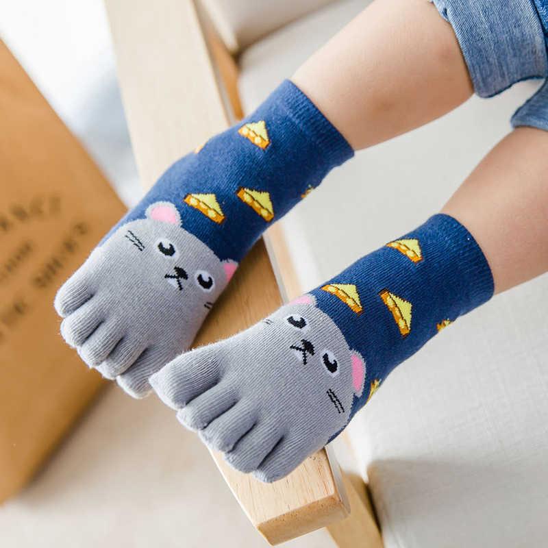 Носки хлопчатобумажные носки с рисунками животных для мальчиков и девочек дешевые креативные милые носки для детей пять носок с пальцами От 3 до 7 лет/От 7 до 12 лет