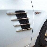 2Pcs Shark Gills Car Styling 3D Vent Air Flow Fender Chrome Alloy Metal Sticker Decal Car