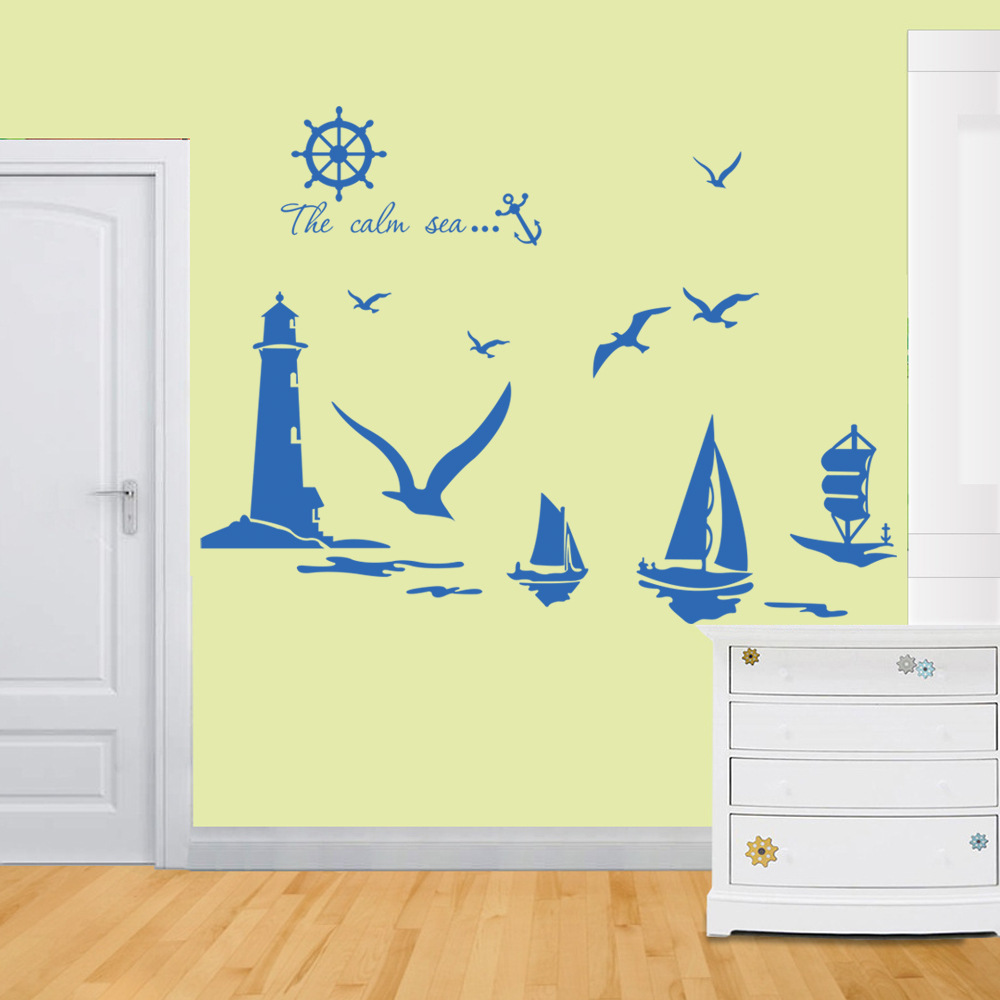Vinyl Wall Stickers Home Decor Sailboat Lighthouse Seagull Wall Art ...