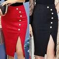 S-5XL Autumn Winter Skirt Elegant Sexy Bodycon Slim Button Split Slit High Waist OL Women Pencil Skirt Office Plus Size