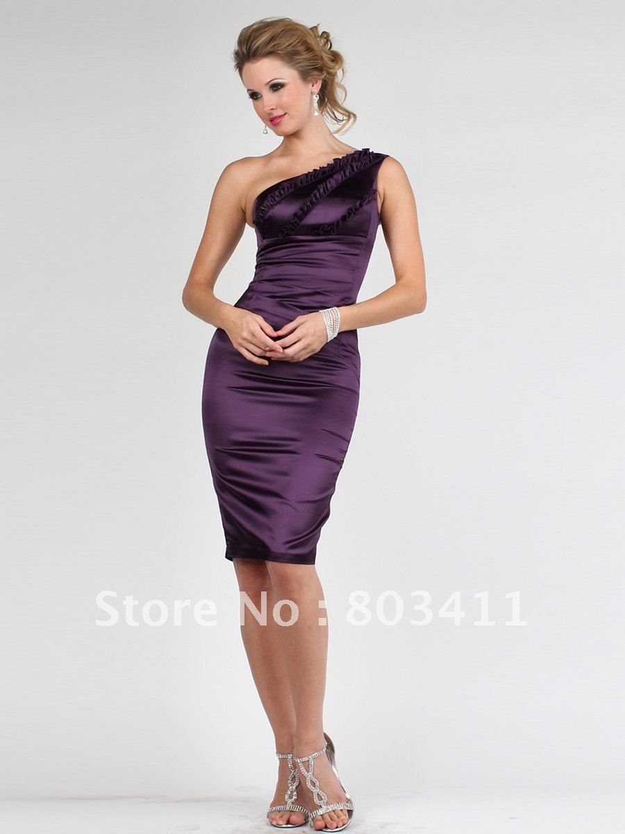 Free shipping one shoulder sleeveless knee length wedding for One shoulder dress for wedding guest