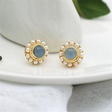 Fashion Opal stud earrings Vintage blue opal earrings pearl earring Metal female temperament round small stud earrings for women