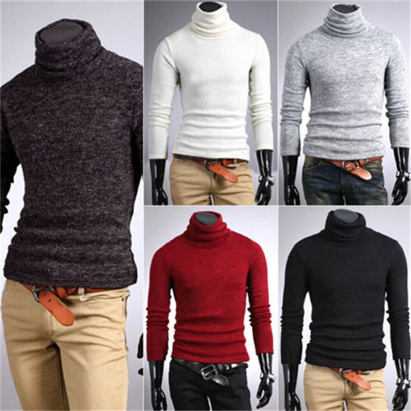 999a8f89e New Mens Sweaters Shirts Popular Thermal Cotton Turtle Polo Neck Slim Tops  Stretch Skivvy Plus Size Turtleneck Pullovers