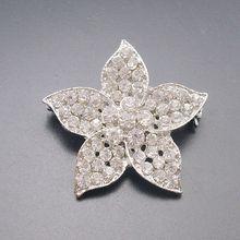 1 Piece Small Cheap Silver Tone Clear Crystal Rhinestone Beautiful Flower Lady Costume Pin Brooch, Item No.: ART193