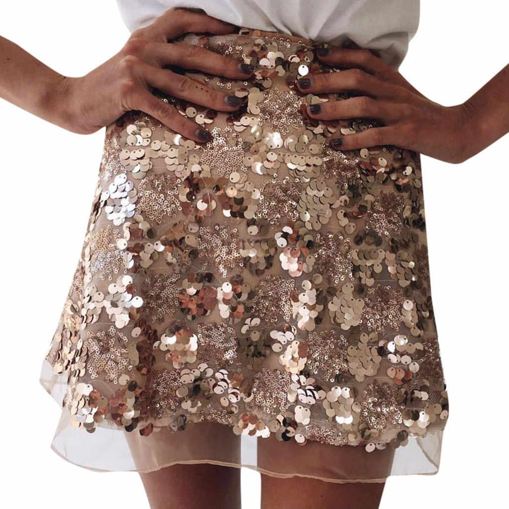 Faldas Cortas Mujer Cintura Alta Ceñido Al Cuerpo Lentejuelas Fiesta De Noche Señoras Casual Mini Falda Corta Mini Mujer Moda 2019 N45