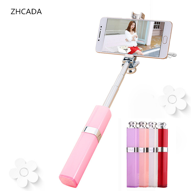 Fashion lipstick wired selfie stick Extendable Handheld Selfie Self phone Stick Monopod