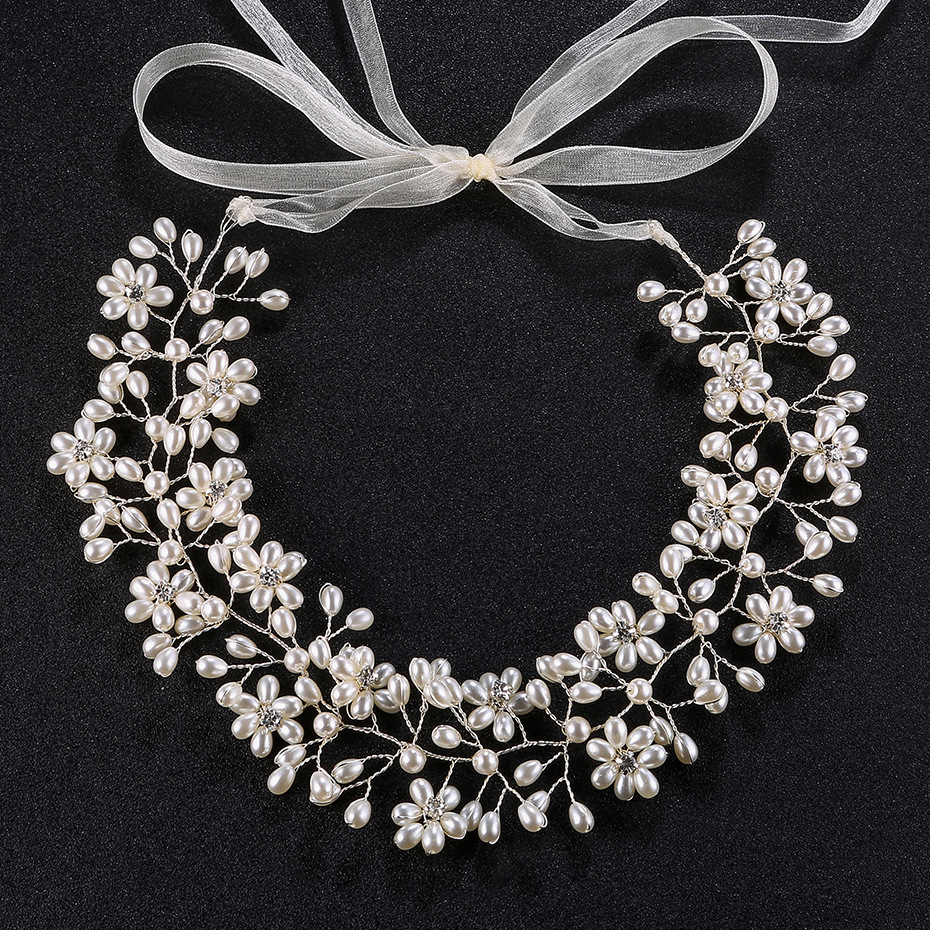 New handmade pearl crystal flower headwear wedding  heanband