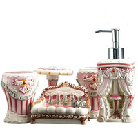 Sanitary ware five piece bath cleaning kit fashion ceramic wash toiletries bathroom kit lo810218