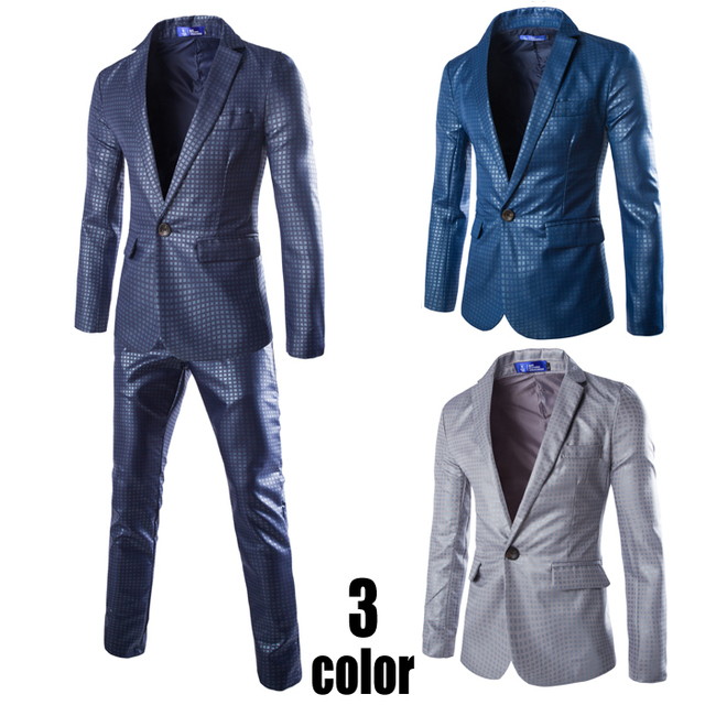2016 spring autunm Luxury men Slim terno masculine, mens suits with pants, two-piece jacket+pants high quality Wedding Suits