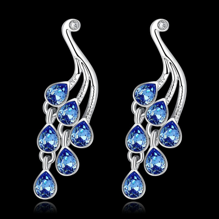 Fashion Jewelry New Women Dark Blue Crystal From Swarovski Earrings For S Present In Stud Accessories On Aliexpress