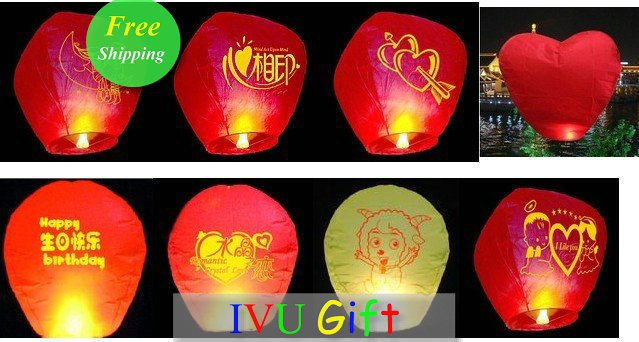 Freeshipping 10PCS Chinese Fire Sky Lanterns Red Heart Wishing Balloon Birthday Wedding Christmas Party Lamp IVU Gift