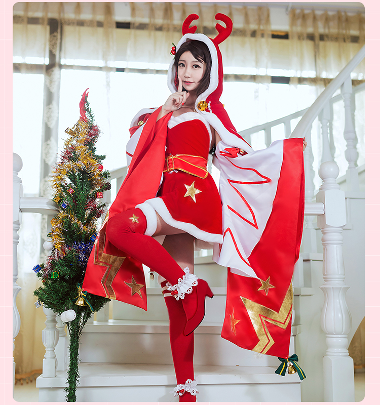 Glory of the king Christmas love song DiaoChan cosplay costume Christmas dress free shipping with socks womens hat female dress