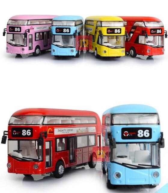 Дети Игрушки Лондон Двухэтажный Автобус Сплава Экскурсионный Автобус Модель Вытяните Назад Со Звуком и Светом Подарок для Детей