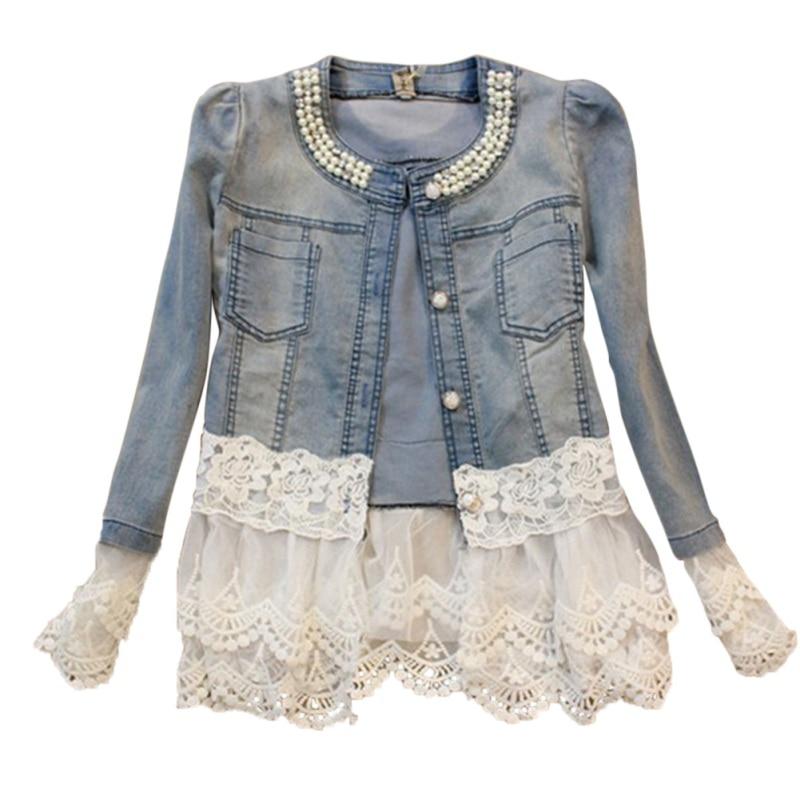 2018 Women lace Jackets jeans women big jeans jacket long sleeve denim feminine outwear women shelters Mujer cardigan jeans