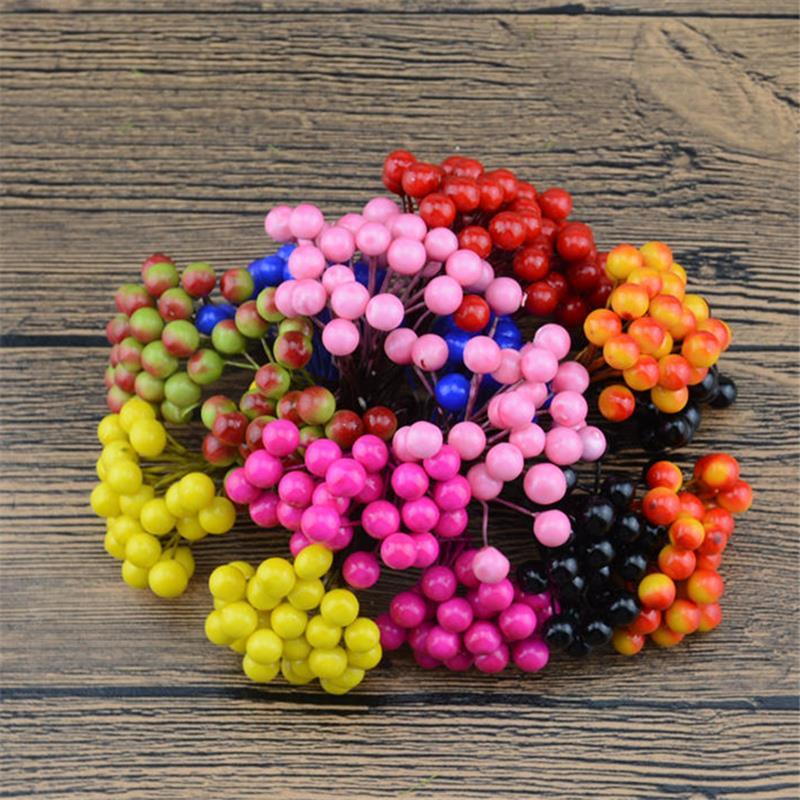 Букет цветов вишневого дерева шт. 500 голов мини Поддельные фрукты маленькие ягоды искусственный цветок самодельный цветок поделка тычинки Свадебные украшения 250