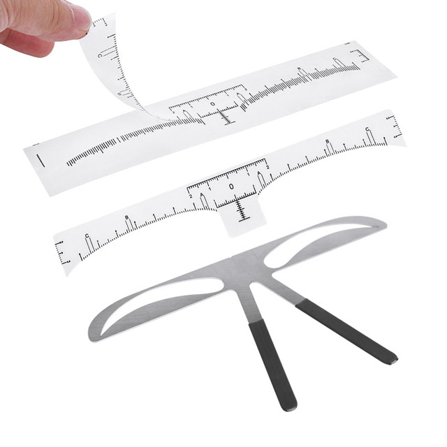 Eyebrow Sticker Stencil Ruler Kit Permanent Makeup Brow Beauty Cosmetic Shaping Grooming Measure Position Template Metal Ruler 1