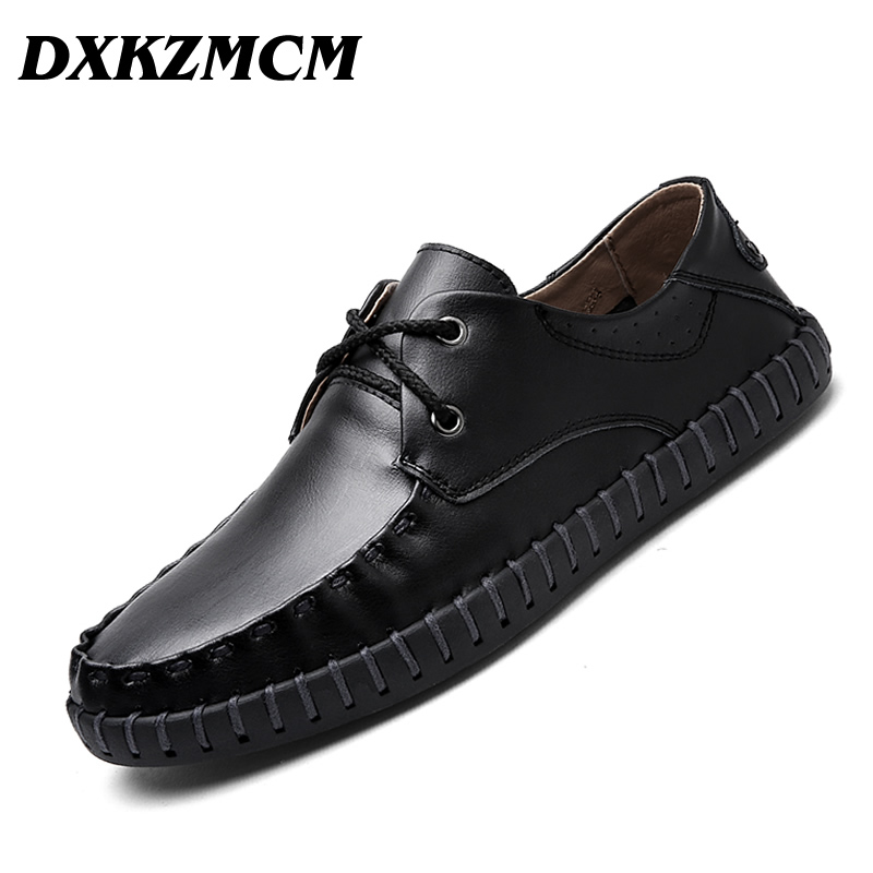 DXKZMCM Men Casual Shoes Genuine Leather Lace On Manual suture Driving Shoes Men Moccasins Loafers branded men s penny loafes casual men s full grain leather emboss crocodile boat shoes slip on breathable moccasin driving shoes