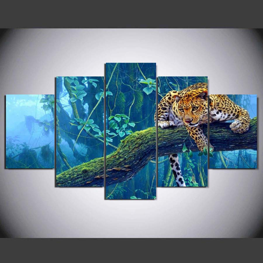 Leopard Bedroom Ideas For Painting: 5 Pieces HD Canvas Painting Print Animal Leopard Modular
