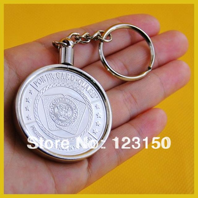 JZ-075 Silver Plated Poker Chip Key Ring Holder, poker card guard is not included