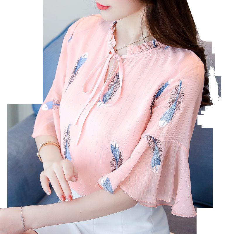 2018 New Spring Summer Women   Shirts   Bow Half Butterfly Sleeve Chiffon Feather Embroidered   Blouse     Shirt   White Pink 5923