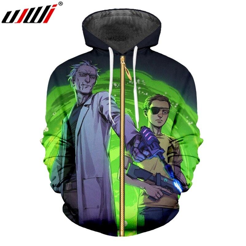 UJWI Trend Men's Anime Zip Hoodies 3D Printed Rick And Morty