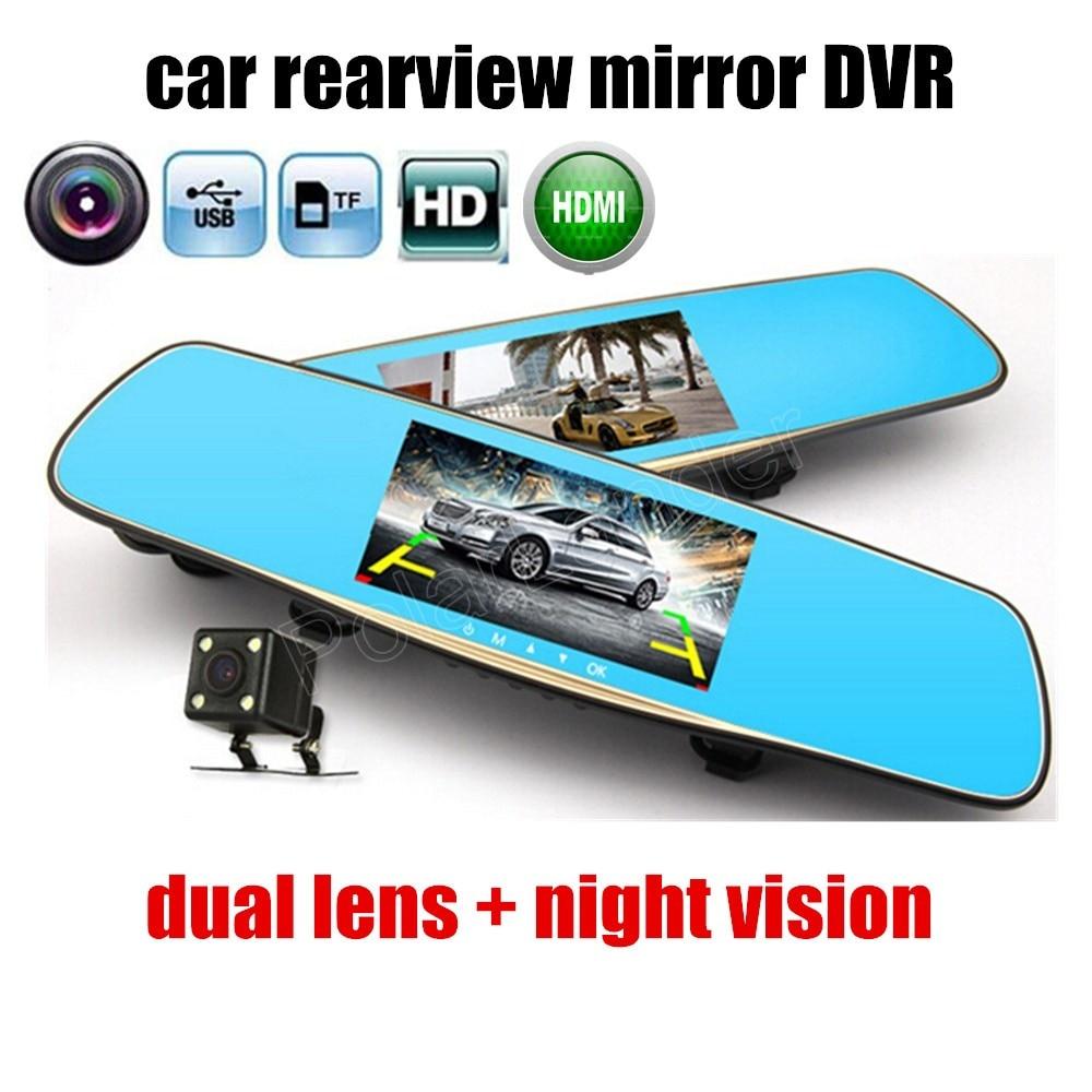 Auto DVR Dash-Cam Video-Registrator Car-Rearview-Mirror Dual-Lens-Recorder Night-Vision