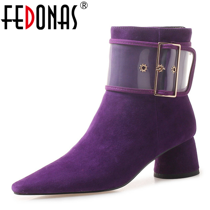 FEDONAS Brand New Buckles Suede Leather Ankle Boots High Heels Autumn Winter Pointed Toe Prom Shoes Woman Sexy Prom Pumps