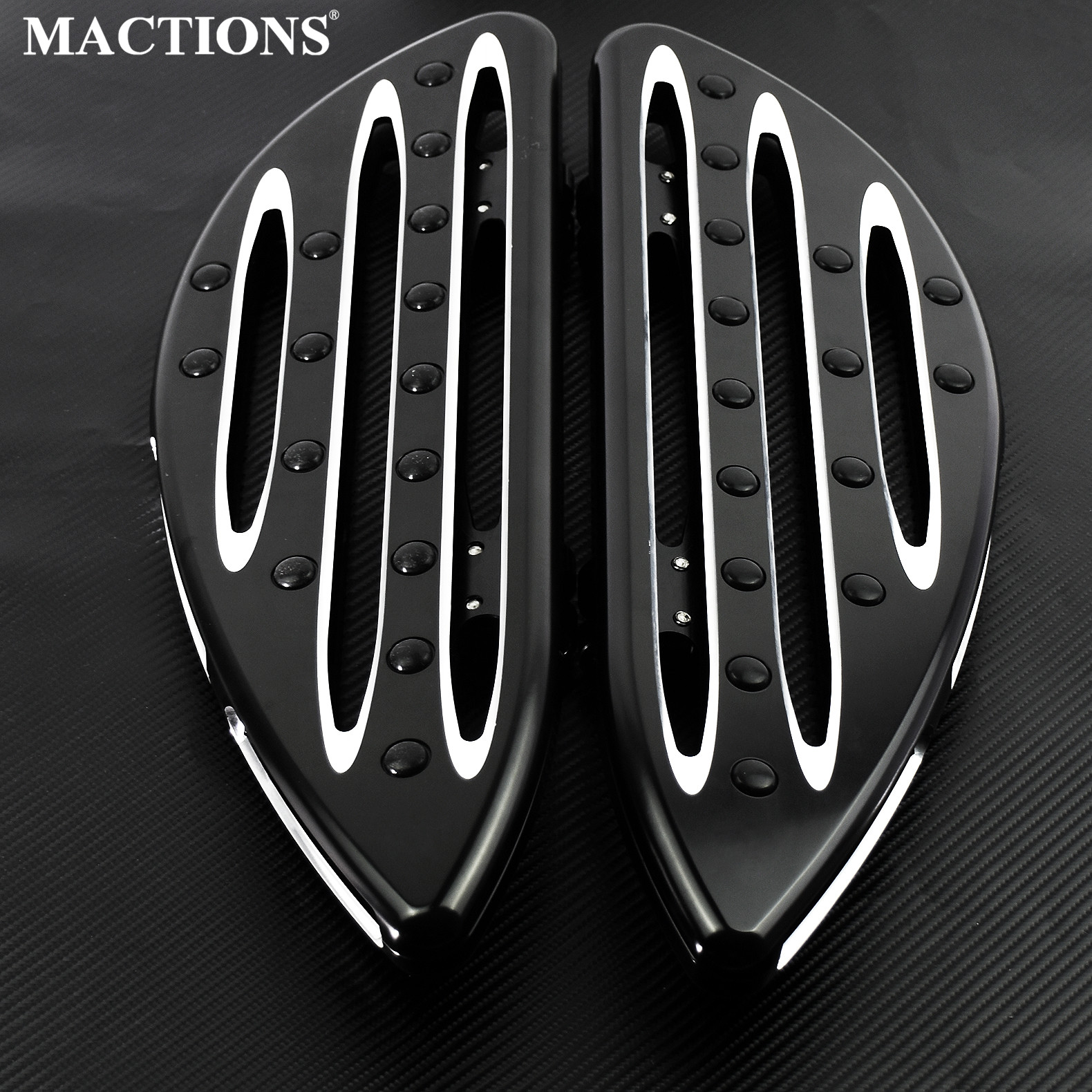 Black Floorboards Driver Stretched Front Pedal For Harley Touring Road King Softail Dyna Fat Boy Heritage