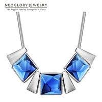 Neoglory Niebieski Szkła Wykwintne Naszyjniki i Wisiorki Urok JS9 Projektowania Mody Biżuteria Prezent Dla Kobiet