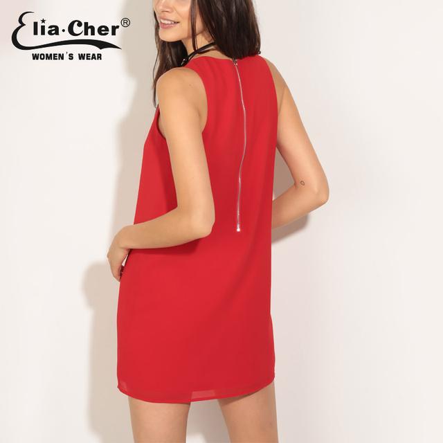 Elia-Cher Brand Causal Women Straight Cut Evening / Party Chiffon Dress