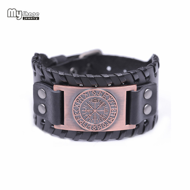 My Shape Viking Vegvisir Compass Bangles Nordic Runes Odin Symbol Wrap Genuine Leather Men Jewelry Accessories 5