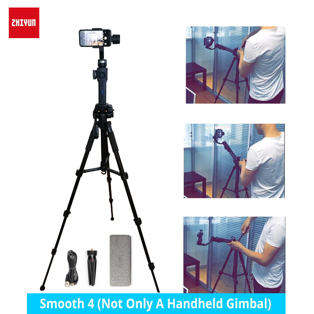 In stock zhiyun zhi yun smooth 4 gimbal handheld 3 axis action camera smartphone stabilizer for Iphone 8 X Sumsang Gopro hero