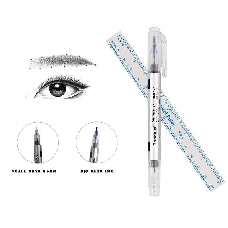 2019 Tebori Tattoo Accesories 1pcs Surgical Skin Marker Eyebrow Pen Tattoo With Measuring Ruler Microblading Positioning Tool