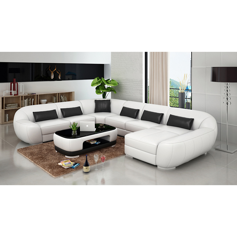 High quality black and white modern leather sofa set 7