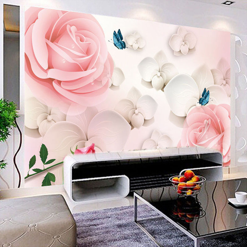 Custom Photo Wallpaper Flower 3D Stereoscopic Rose TV Background Wall Decoration Home Wall Mural Living Room Painting Wallpaper