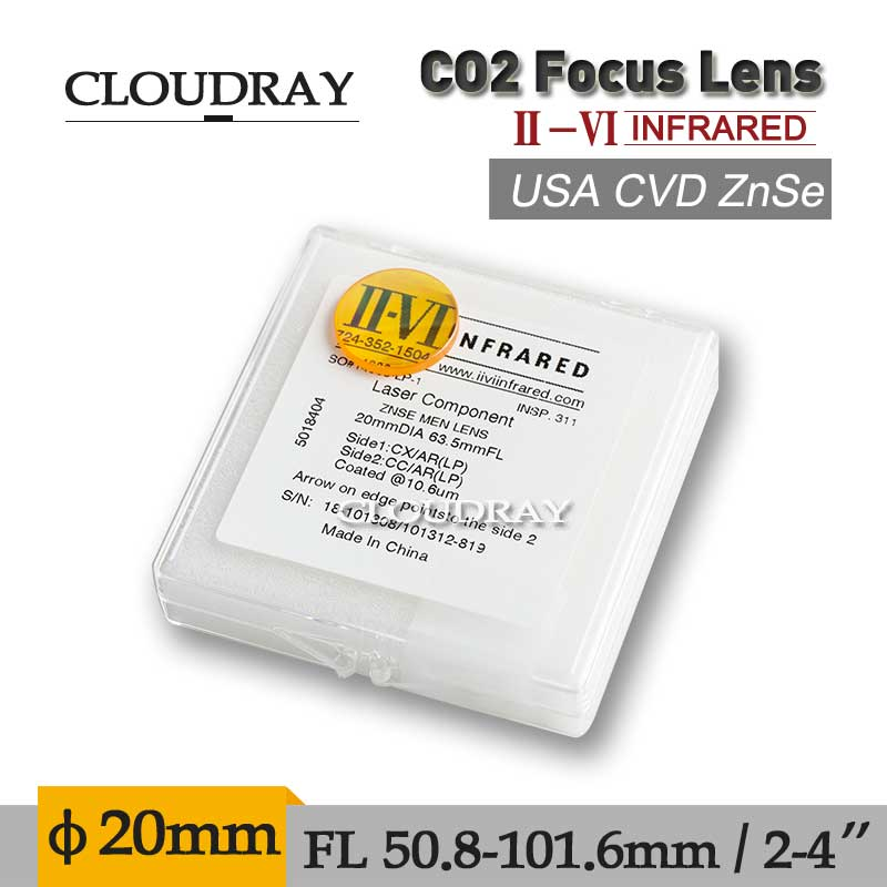 Cloudray II-VI ZnSe Focal Meniscus Lens Laser Engraving Cutting Machine Optical Lens Dia. 20mm FL 50.8mm 2