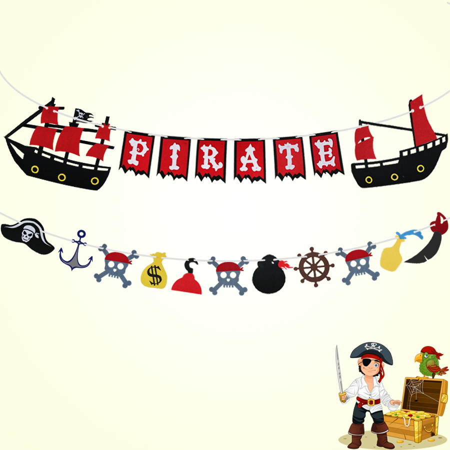 SPECIAL Pirate Banner Durable Felt Flags Themed Party Decorative Flag Background Pirate Theme Bunting Hang Garland Party Decors(China)