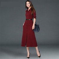 Woman Autumn Dress Lapel Women Vintage Dress Slim Large Size Long Sleeve Sexy Dresses Vestidos Vestido Longo Office Dress C2482