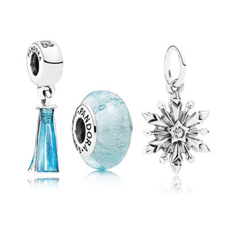Vendita calda 925 Sterling Silver Adatto Braccialetti Europei di Fascino neve colori del tema perline d'argento con la CZ di Fascino di DIY Squisita regalo