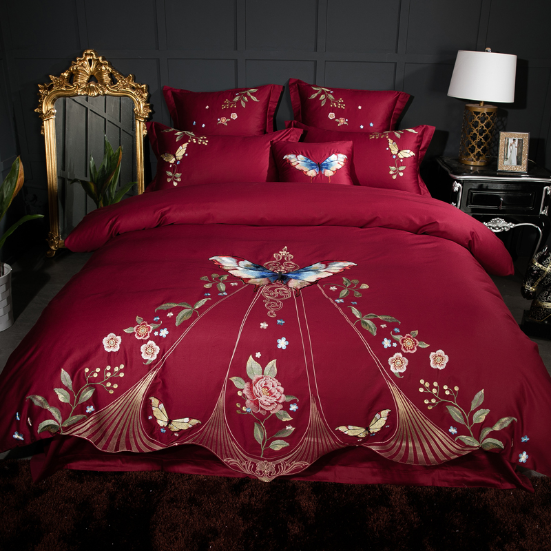 Super King Size Duvet Cover Egyptian Cotton Sweetgalas: Dark Red Embroidered Duvet Quilt Covers 4pcs Egyptian