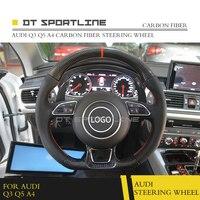 DT SPORTLINE Carbon Fiber Fibre Steering Wheel Trims Cover Caps For Audi Q3 Q5 A4 2017 Replacement Accessories