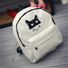 Japanischen Katze Schule Leinwand Rucksack Für Frauen Teenager Mädchen Paar Cartoon Hochschule Wind Mochila Escolar mann Rucksack Nette Weiße