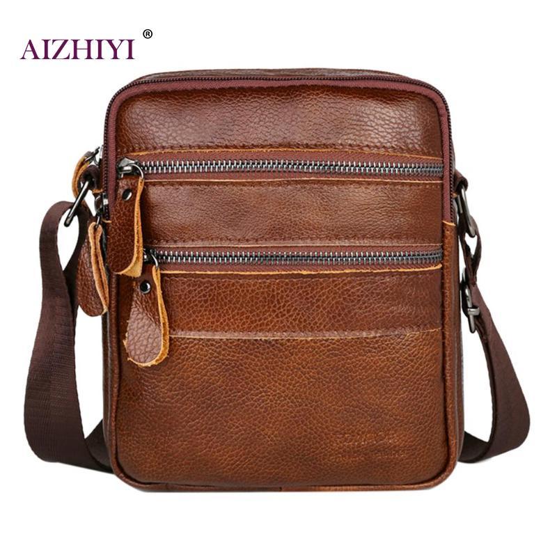 Fashion Retro Vintage Male Solid Color Shoulder Packs Men Genuine Leather Crossbody Messenger Bag Simple Pure Color Shoulder Bag(China)