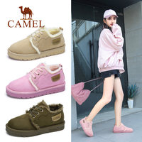 CAMEL Women Boots Suede Winter Ankle Snow Boots Women Platform Winter Warm Shoes Short Plush Mujer Lace Up Cross Tied Soft Shoes