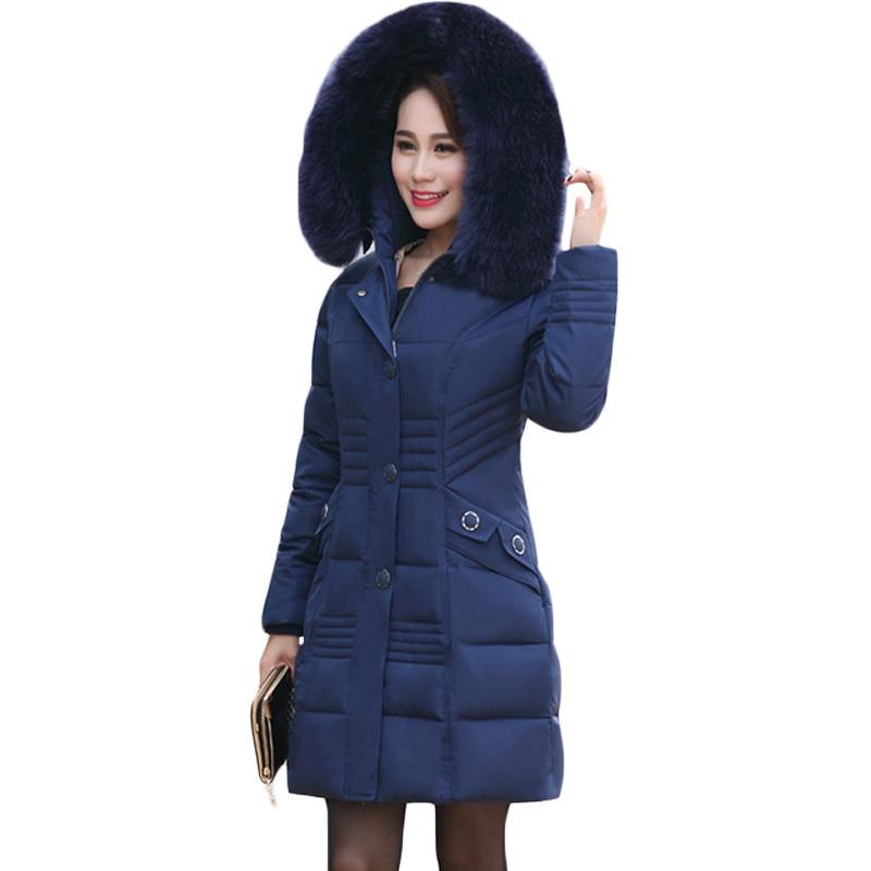 Noir 4xl Grand 2017 Femmes Col Xh684 Veste Outwear Vêtements D'âge Chaud rouge Mûr Mince Élégant bleu Parkas De pourpre Taille Luxe Grande Vintage Fourrure Hiver w8q1If5