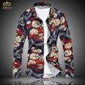 MIUK 2017 Супер Большой Размер Цветочные Camisa Masculina L ~ 7XL Высокое Качество Brand Clothing Мужчины Цветок Рубашка С Длинным Рукавом гавайской Рубашке