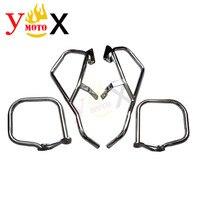 Set K1600 Chrome/Black Motorcycle Front Engine Guard Rear Crash Bar Bumper Protection For BMW K1600GT K1600GTL 2011 2018