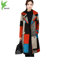 New Women Autumn And Winter Trench Coats Color Plaid Woolen Cloth Outerwear Plus Size Medium Length